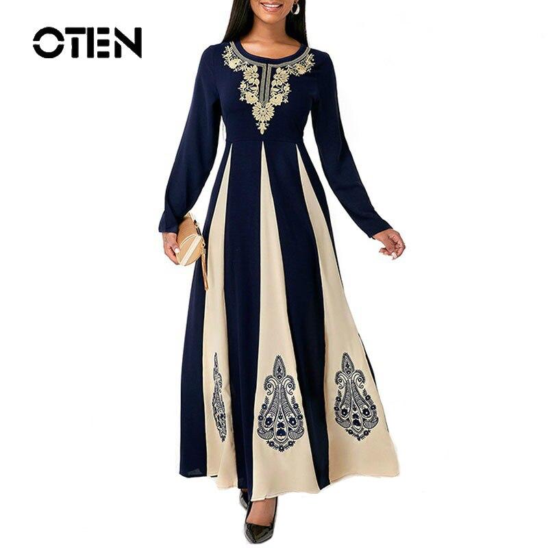 OTEN Women's casual round neck patchwork print dress slim fit waist Retro