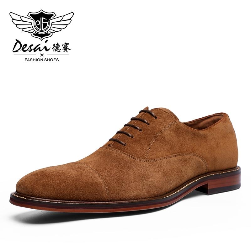 Desai 2020 Men Shoes England Trend Casual Shoes Male Suede Oxford Wedding Leather Dress Shoes Men Flats