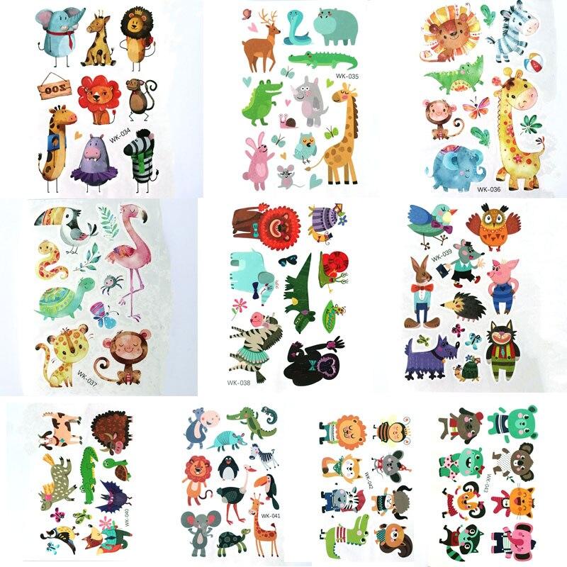 Waterproof Temporary Tattoo Cartoon Animal Fake Tattoos Body Art Hand Foot Stickers Kids Children Makeup 10pcs