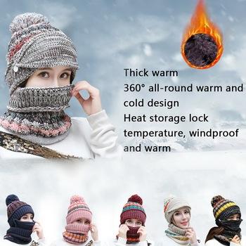 Czapka zimowa zestaw szalików grube ciepłe damskie akcesoria zimowe polar wewnątrz czapka z dzianiny zestaw szalików 3 szt Czapki zimowe na zewnątrz tanie i dobre opinie LOOZYKIT CN (pochodzenie) Unisex hats for women men Patchwork COTTON 56cm-59cm All code is flexible Spring Autumn Winter