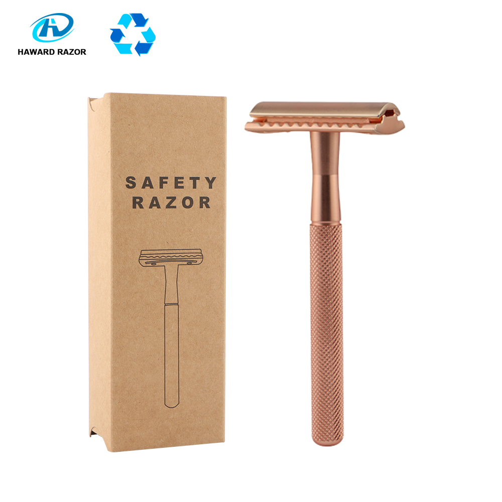 HAWARD Rose Gold Safety Razor Men's Double Edge Razor Classic Manual Shaving Razor Women Hair Removal Shaver 20 Shaving Blades