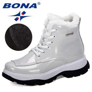 Image 5 - BONA 2019 yeni tasarımcılar popüler İngiliz deri kalın yarım çizmeler bayan botları motosiklet botları bayanlar kış peluş çizmeler