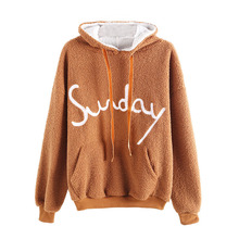 цена на Women Hoodies Elegant Faux Fur Fluffy Teddy Regular Fit Solid Pullovers 2019 Autumn Winter Casual Korean Crop Top Hoodie
