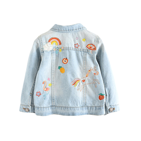 criancas denim jaquetas para meninas bordados flamingo