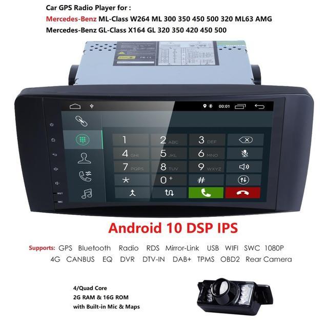Hizpo DSP 4 ядра IPS Android10.0 автомобильное радио для Mercedes/Benz/GL ML класса W164 ML350 ML500 X164 GL320 Canbus 4G Wifi GPS BT Радио
