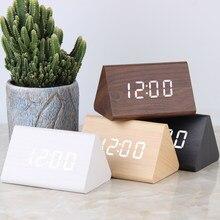 Orologio digitale a LED sveglia in legno tavolo controllo del suono orologi elettronici Desktop USB/AAA alimentato