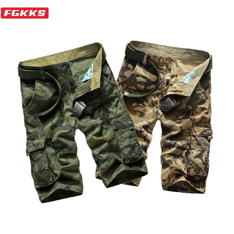 FGKKS Summer New Men Casual Shorts Men's Camouflage Multi-Pocket Short Male Military Cargo Short Brand Clothing