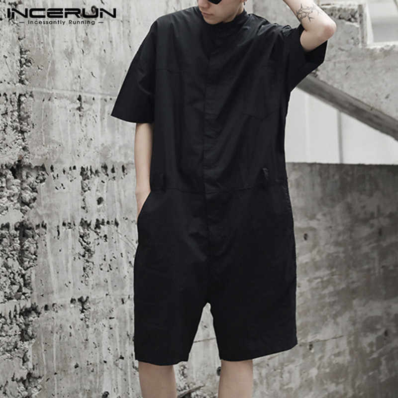 INCERUN Rompers Mens Cargo Overalls 루스 솔리드 컬러 2020 Streetwear 펑크 스타일 Shortsleeve Playsuit 남성 점프 슈트 팬츠 S-5XL