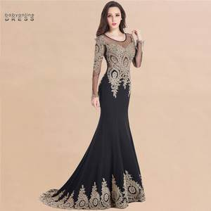 Prom-Gowns Longue Kaftan Evening-Dresses Robe-De-Soiree Dubai Lace Vestido Mermaid Black