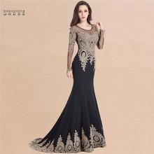 Kaftan dubai laço preto sereia vestidos de noite manga longa formal noite do baile de formatura vestidos de mulher longo robe de soiree longue