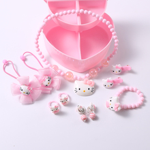 1set Child Jewelry Hello Kitty Hair Clips Bands Girls Acrylic Necklace Finger Ear Rings Accessories