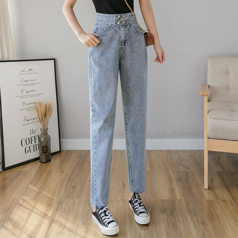 Spring 9/10 Length Raw Hem Denim Capri Pants Cropped Jeans for Women S M L XL