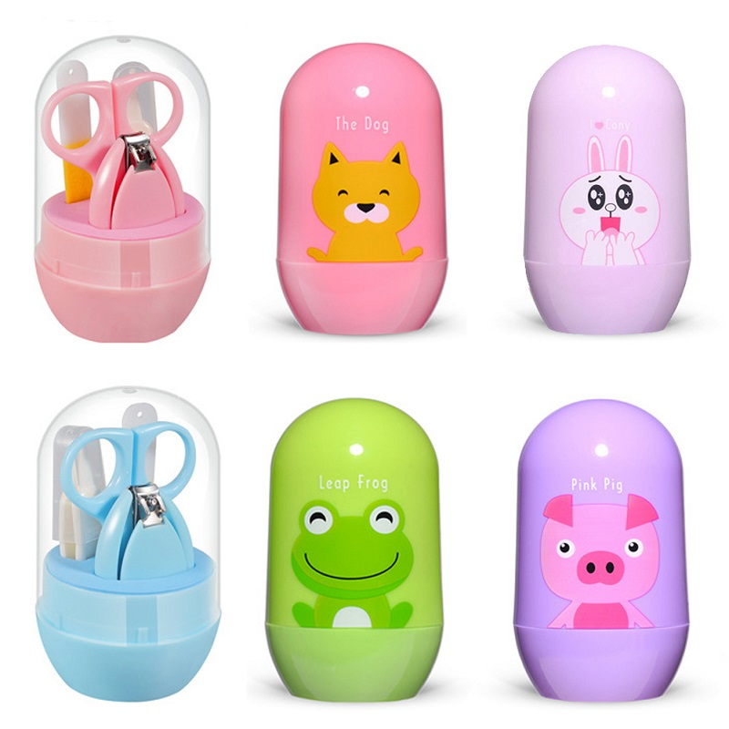 Kidlove 4Pcs/Set Multifunction Nail Care Infant Baby Nail Clipper Set Travel Cartoon Animal Storage Box