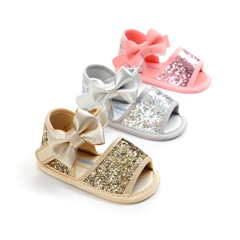 Infant Baby Shoes Girl Summer Sandals PU Leather Bling Shining Bowknot Anti-Slip Cotton Sole Newborn First Walker Crib Shoes