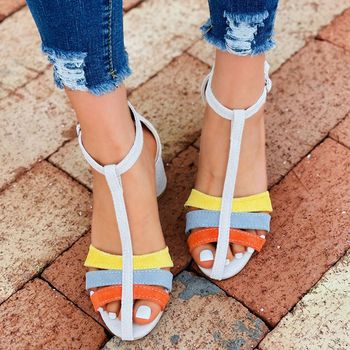 Summer High Quality Women's Sandals 2021 New Hot Fashion Color Matching Heels Woman Shoes Round Heels Zapatos De Mujer Big 43