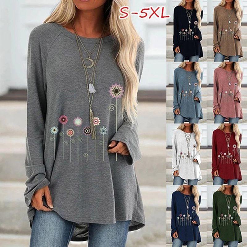 Artı boyutu 5XL kadınlar çiçek baskı düzensiz Hem Tshirt Vintage uzun kollu t-shirt o-boyun Tee gömlek tunik elbise Mujer