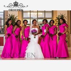 Недорогое горячее розовое платье подружки невесты для женщин оборки на одно плечо Русалка длинное строгое платье для свадебной вечеринки