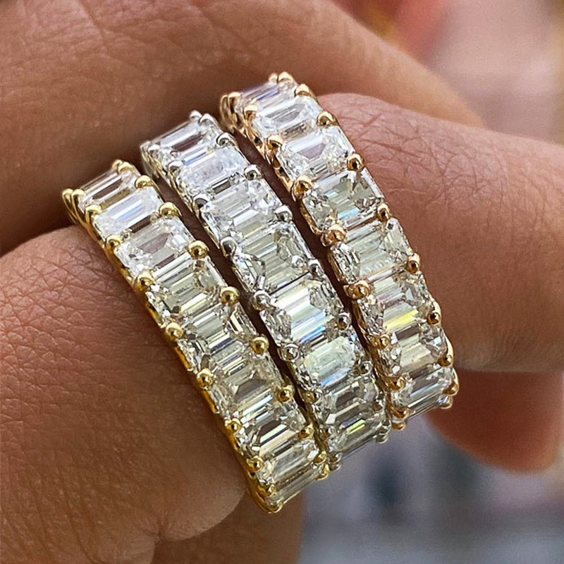 Huitan Luxury Micro Paved Square Cubic Zirconia Promise Love Rings for Women Engagement Wedding Jewelry Hot Sale Drop Ship Ring