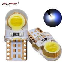 Eurs 10 pçs t10 led cob luz led w5w t10 194 168 w5w para lâmpada de estacionamento cunha lâmpada de folga canbus sílica gel carro licença luz