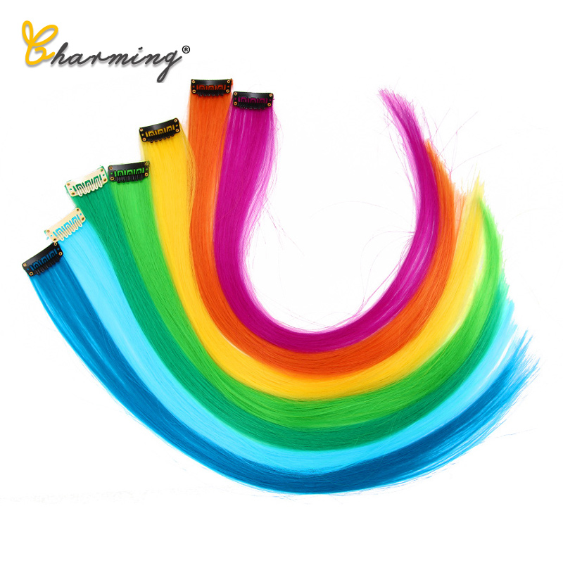 CHARMING Long Straight color Hair 20 inch Piece Hair Extensions Clip Rainbow Hair Streak Pink Synthetic Hair Strands on Clips 3