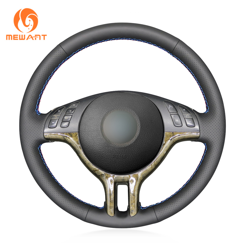 MEWANT Black Artificial Leather Car Steering Wheel Cover for BMW E46 318i 325i 330ci E39 X5 E53 Z3 E36/7 E36/8(China)