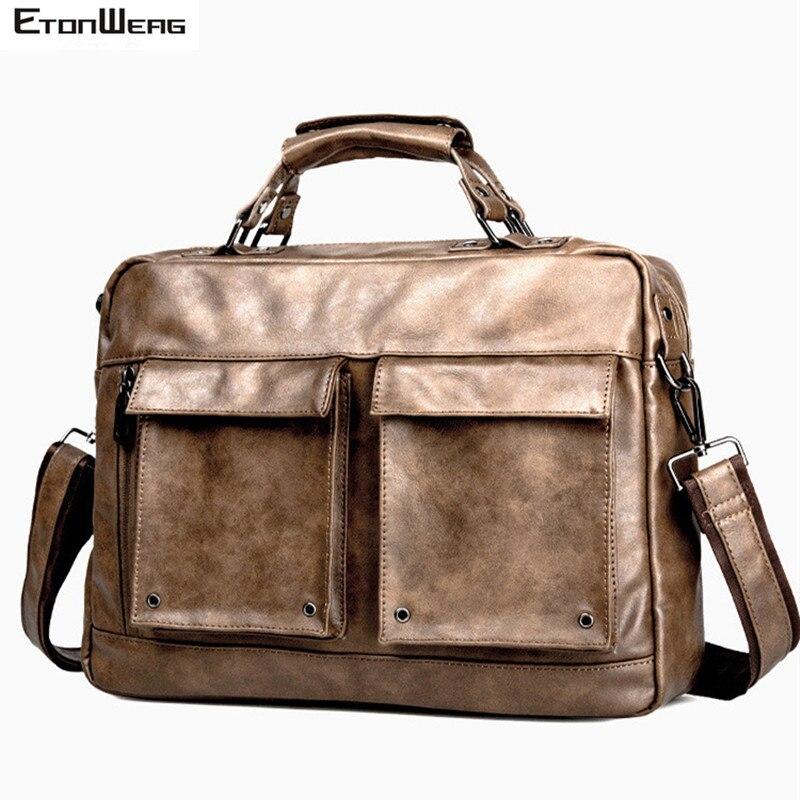 Men's Vintage Briefcase Brand Leather Handbag Business Office Men Messenger Bag Computer Laptop Shoulder Bag Casual Solid Tote