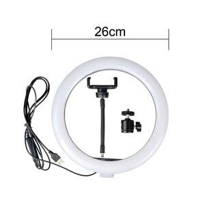 Image 4 - 26cm halka ışık LED fotoğraf stüdyosu kısılabilir kamera lambası Video Youtube makyaj VK Selfie ile 160cm Tripod telefon tutucu standı