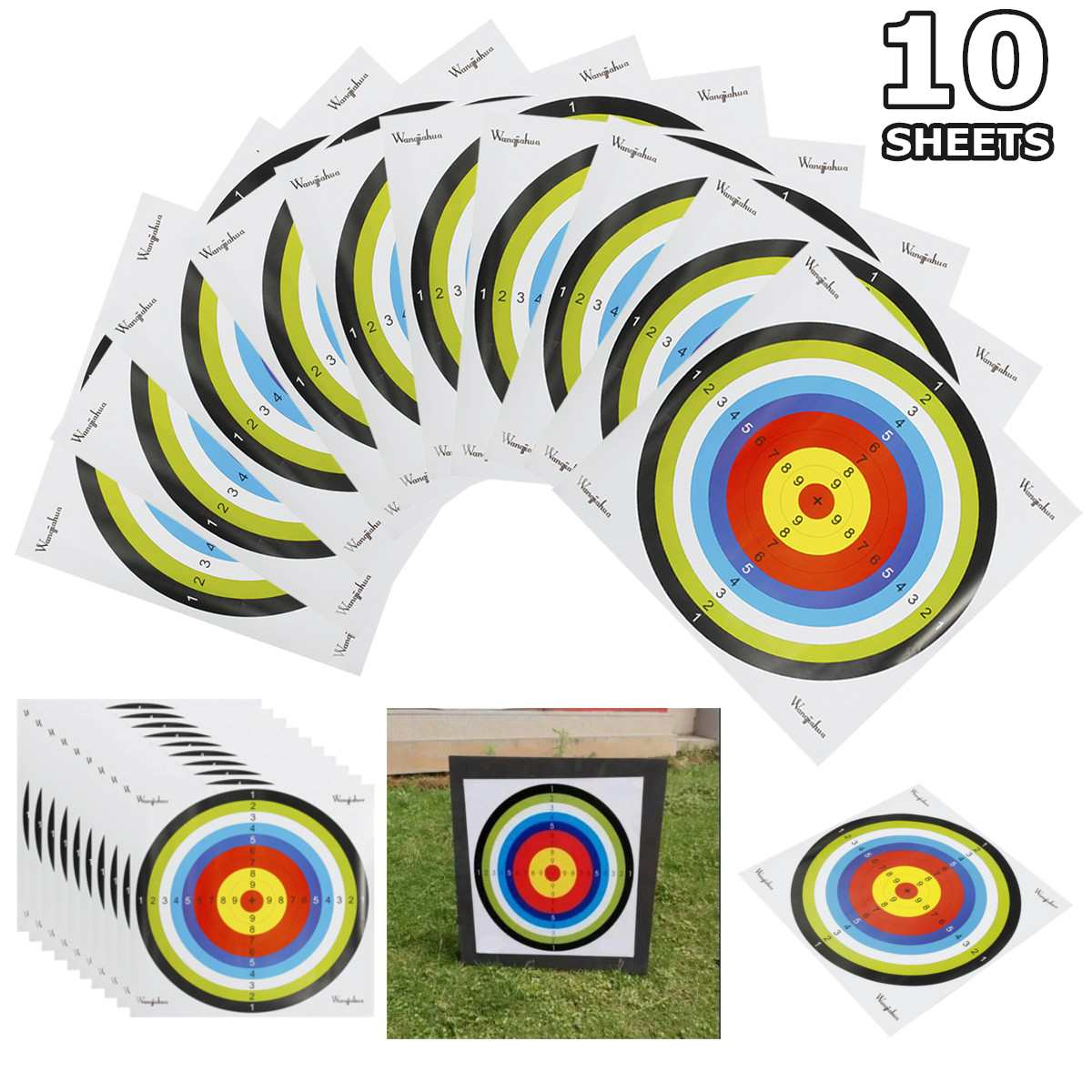 Professional 10 Sheets Shooting Target Paper Archery Shoot Targets Bow Arrow Gauge Indoor Target Paper Hunting Training Practice