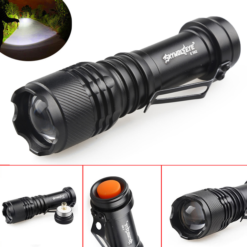 SKYWOLFEYE E502 Mini Portable Q5 LED Flashlight Zoomable Waterproof 3 Mode 800LM Pocket LED Torch Lamp Flash Light For Outdoor