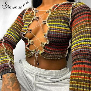 Simenual Ribbed Striped Hollow Out Tie Front Top Long Sleeve Women Fashion Sexy Hot Bodycon Crop Tops Club Partywear Tees Skinny
