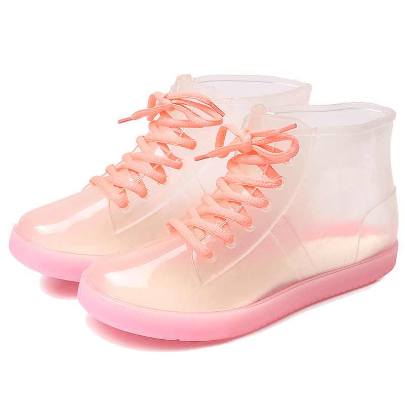 Aleafalling Ayak Bileği yağmur çizmeleri Çıkarılabilir Kapak Platformu Lace Up PU Su Geçirmez Motosiklet Renkli Ayak Bileği Olgun Çizmeler Kadın Ayakkabı