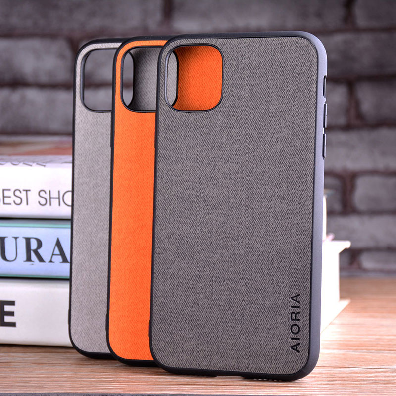 Luxury Textile Leather Skin Soft TPU hard PC Phone Cover for iPhone 11 pro max