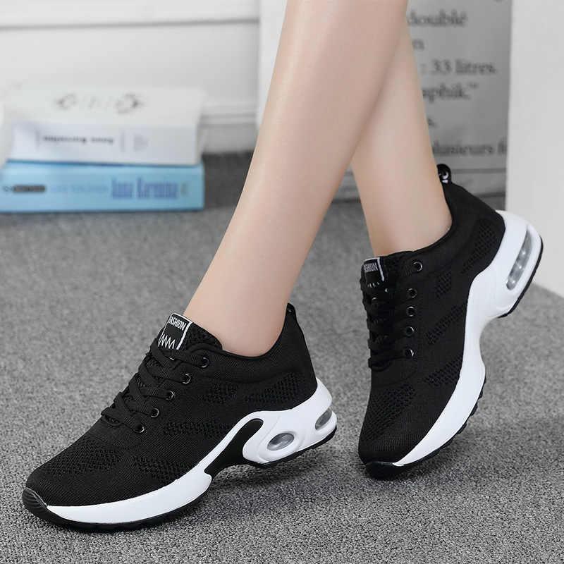 Femmes baskets noires été mode respirant Air Mesh à lacets chaussures décontractées dames doux plat confort chaussures de marche
