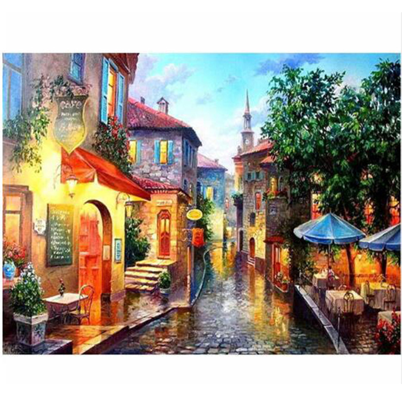 WEEN Small Town Scenery-DIY Painting By Numbers, Acrylic Paint, Canvas For Wall Decoration Picture, Paint Numbers