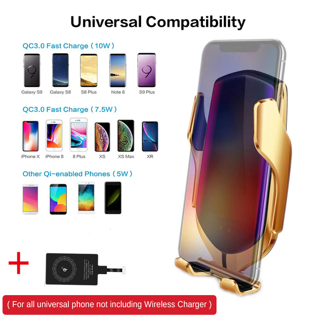 R1 Automatic Clamping 10W Wireless Car Charger For iPhone X Xs Huawei LG Infrared Induction Qi Wireless Charger Car Phone Holder 6