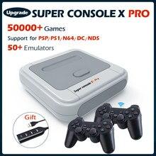 Super console x pro consolas de jogos de vídeo wifi 4k hd mini tv jogador de jogo retro para psp/ps1/dc/n64 com 50 + emuladores 50000 + jogos