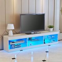 57'' LED Light High Gloss TV Unit Cabinet Stand White Black Wood Table Living Room Meuble TV Bedroom Furniture Desk US Shipping