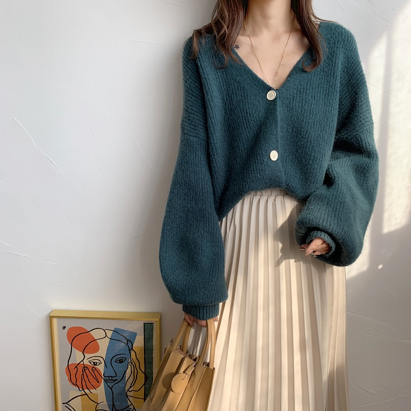 New Oversize Women's Sweaters Autumn Winter Fashionable Casual Blue V-Neck Cardigans Single Breasted Puff Sleeve Loose Cardigan