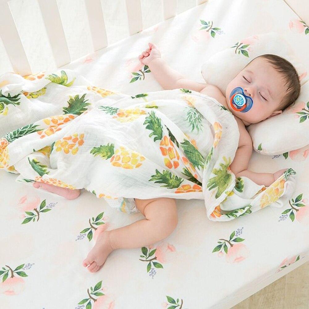 Muslin Blanket 100% Cotton Baby Swaddles 120*120cm Soft Newborn Blankets Bath Gauze Infant Wrap Sleepsack Stroller Cover Playmat