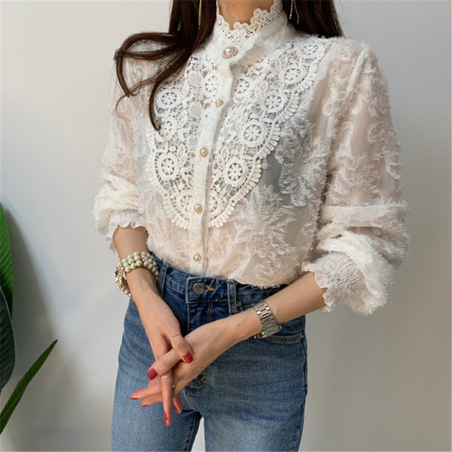 Women Crochet Lace Blouses Women Korean Ladies Solid Color Stand Collar Long Sleeve Blusa Vintage Blouse Spring Shirt Tops 5