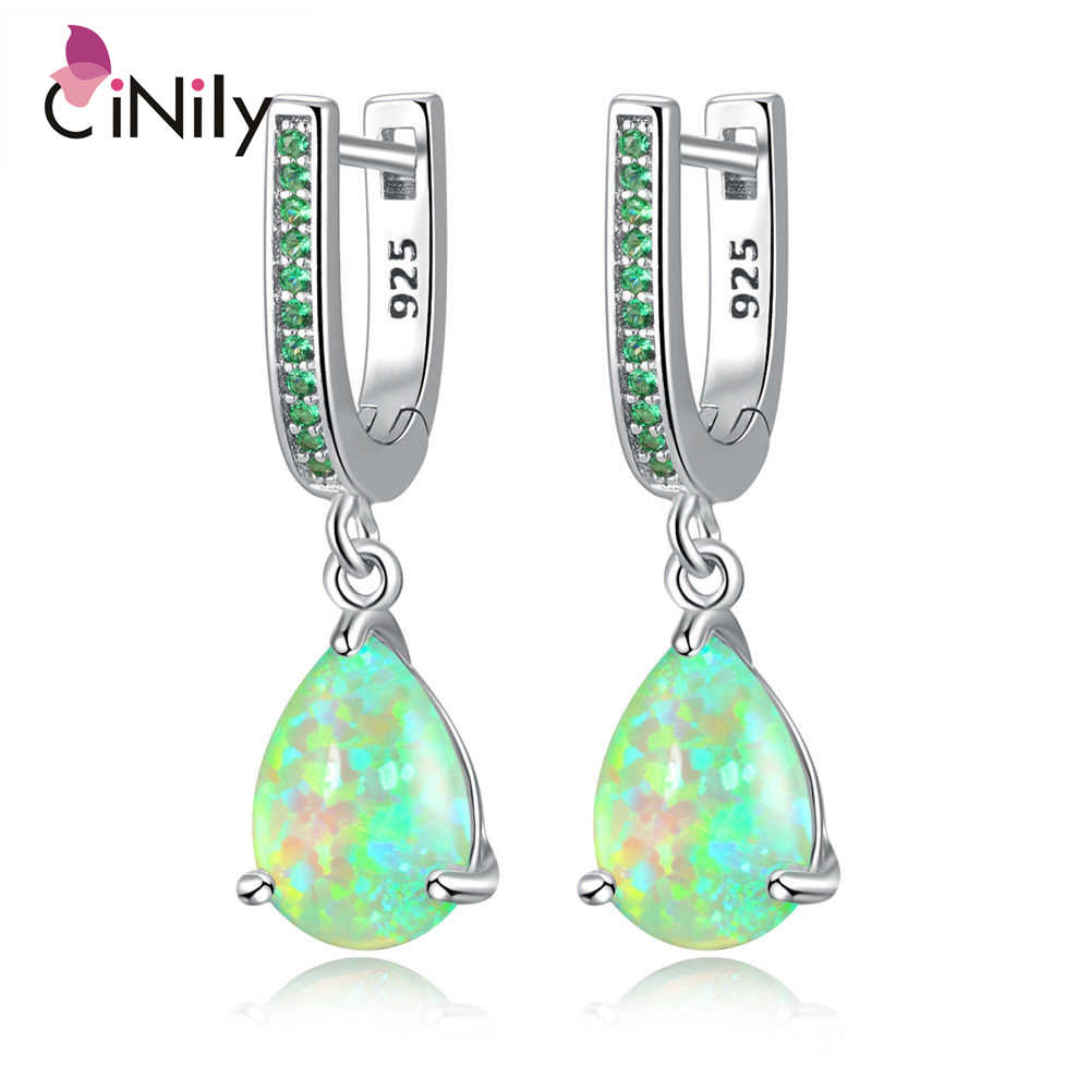 925 Silver Plated Simple Leaves with opal pendant Dangle stud post Earrings For Women Girls