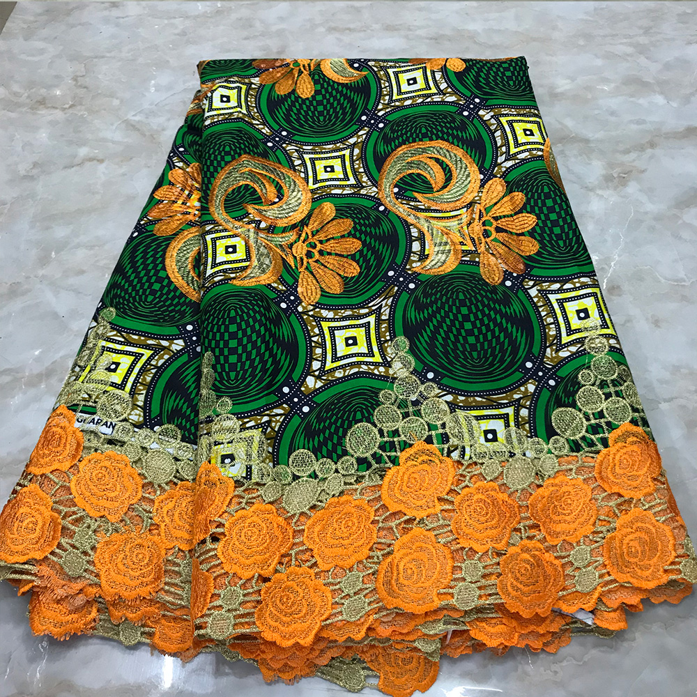 African Ankara Wax Lace Fabric Cotton Embroidery Wax With Lace For Ankara Clothing African Fabric Wax Print 6 Yards Materials