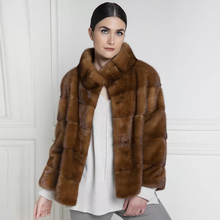 Natural Mink Fur Coat Stand Collar Coffee Color Fashion Women Real Mink Fur Coat Winter Fashion Fur Overcoat Luxury Woman Winter