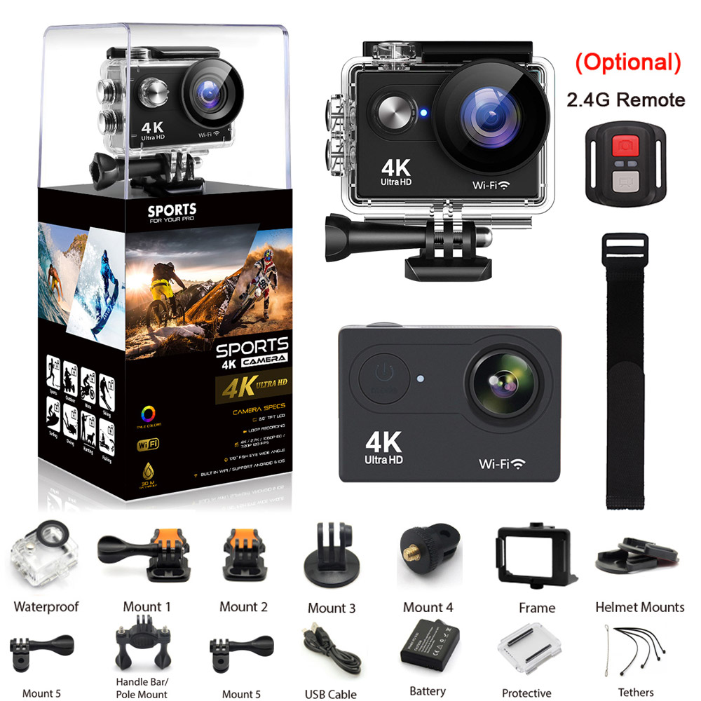 FIREFLY Sports Action Camera WIFI 4K 30fps Ultra HD 16MP 170D 30m Underwater Waterproof Helmet Video Recording Cameras Sport Cam