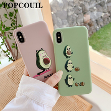 Frosted Relief Tpu Soft Shell Phone Case for IPhone 6 6SP 7 8 Plus X 11 Pro XS MAX XR Cute Pink Avocado Family Case Waterproof