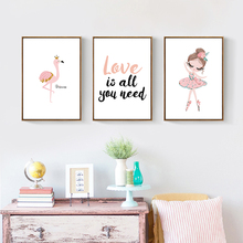 Cartoon Wall Painting Poster Watercolor Dancing Girl Canvas Baby Room Decor Art Paintings Unframed