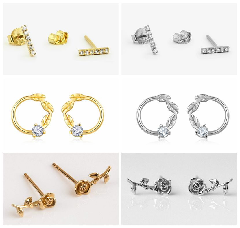 925 Sterling Silver Rose style Cute Stud Earrings For Women Casual Style Girl Earings Personality Sterling-silver-jewelry A30