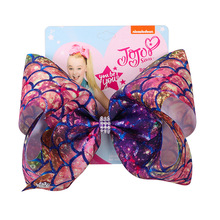 7 JOJO Bows Mermaid Printed Large Hair for Girls with Clips Boutique Grosgrain Ribbon Bow Hairgrips Party Kids Headwear