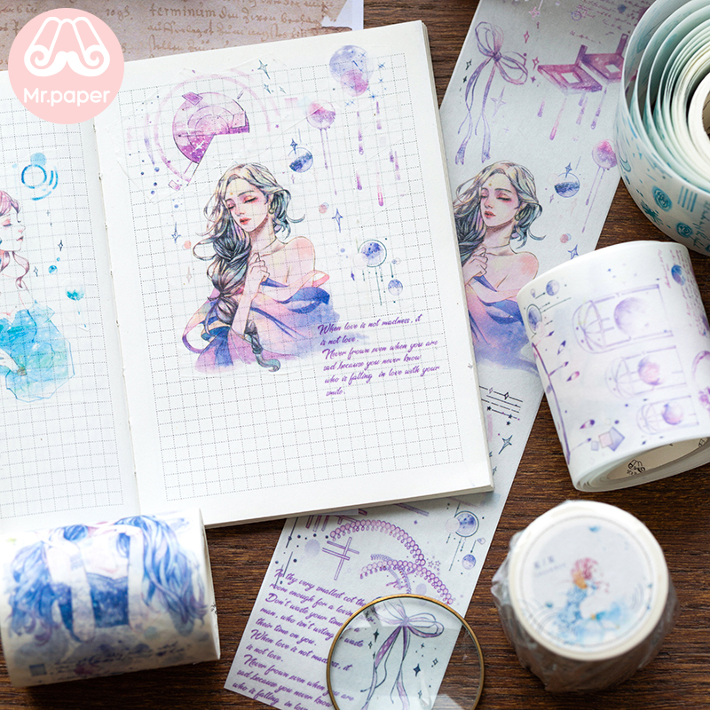 Mr Paper 4 Designs Time Dreamland Creative Hand-drawing Special Ink Washi Tapes Bullet Journal Scrapbooking Deco Masking Tapes