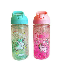 Portable Stylish Double Straw Unicorn Ice Cup Summer Cold Drink Juice Coffee Water